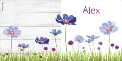 Geboortekaartje bloemen blauw en paars