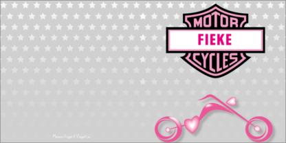 Stoer geboortekaartje met roze motor voor stoere meisjes