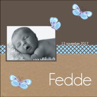Lief en trendy kaartje met foto van de baby' stoer door de kartonnen achtergrond en met de vlindertjes toch lief