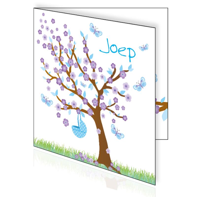 Geboortekaartje voorjaar lente met boom