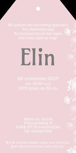 Geboortekaartje als label met witte bloemen Elin | Meneer Vogel