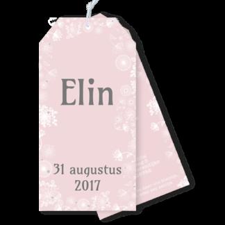 Geboortekaartje als label met witte bloemen