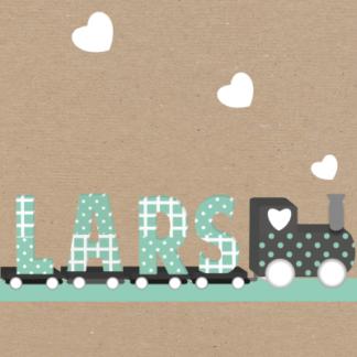 Een treintje met letters die de naam van de baby vormen' super origineel en trendy!