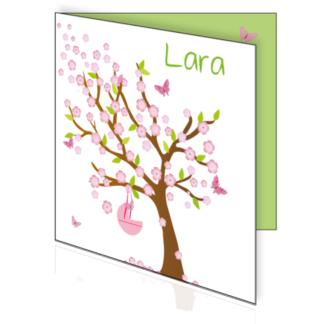 Geboortekaartje met boom in lente sferen met wiegje