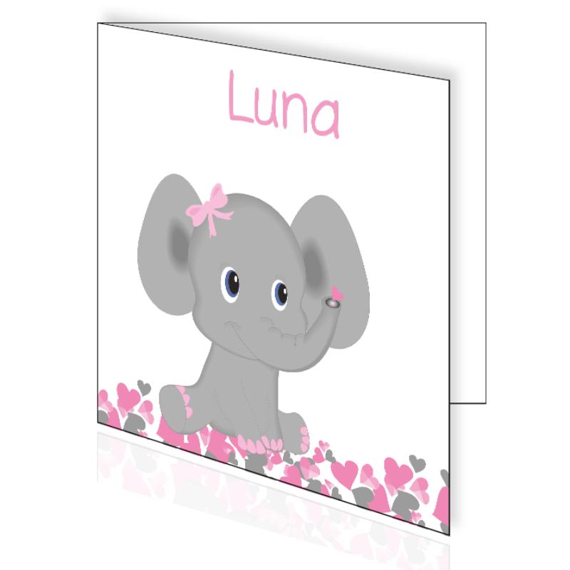 Geboortekaartje met olifantje en hartjes voor een meisje