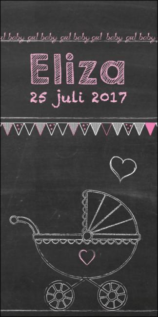 Hip geboortekaartje' stoer door de schoolbord look