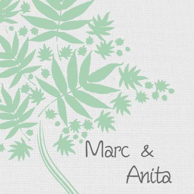 Uitvergroting van een mintkleurige boom' apart en trendy. Stijlvol door de linnen achtergrond
