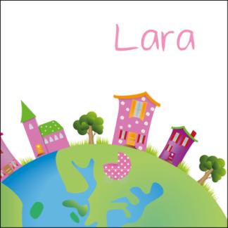 Kleurrijke wereldbol met huisjes en de wieg in het midden van de wereld,' origineel en lief ontwerp