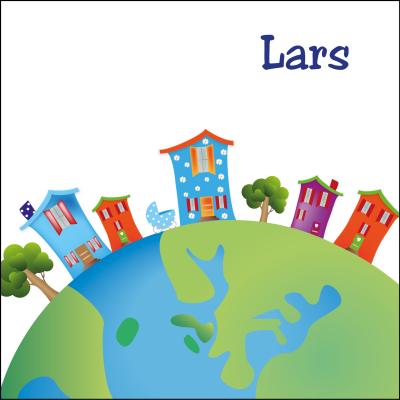 Kleurrijke wereldbol met origineel vormgegeven huisjes