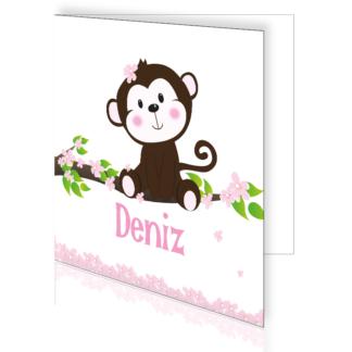 Geboortekaart met aapje voor een meisje