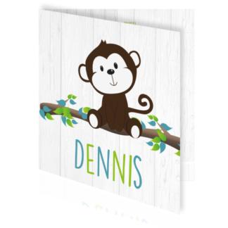 Hippe geboortekaarten jongen met aapje