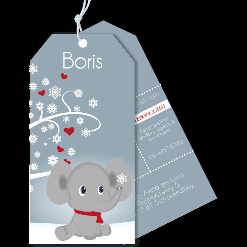 Geboortekaartje label olifantje onder boom