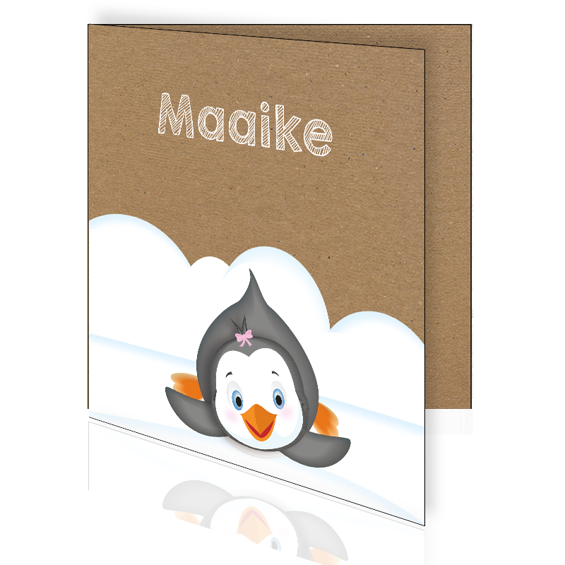 Geboortekaartje met pinguïn in de sneeuw