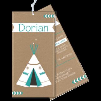 Geboortekaartje als label op karton wigwam tipi mint en wit
