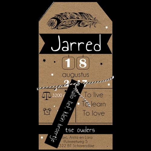 label geboortekaartje met veer in zwart wit