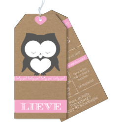 Geboortekaartje als label op karton met slapend uiltje