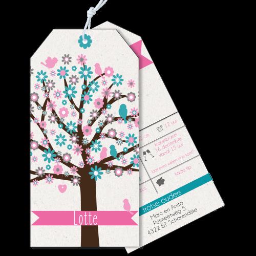 Geboortekaartje als label op karton boom met vogeltjes roze en mint