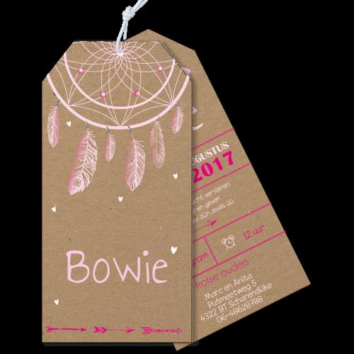 Geboortekaartje als label op karton met droomvanger veertjes roze