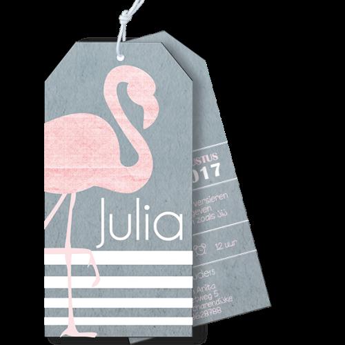 Geboortekaartje als label flamingo