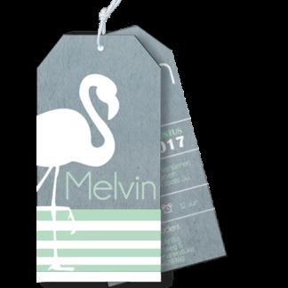 Geboortekaartje als label flamingo wit mint