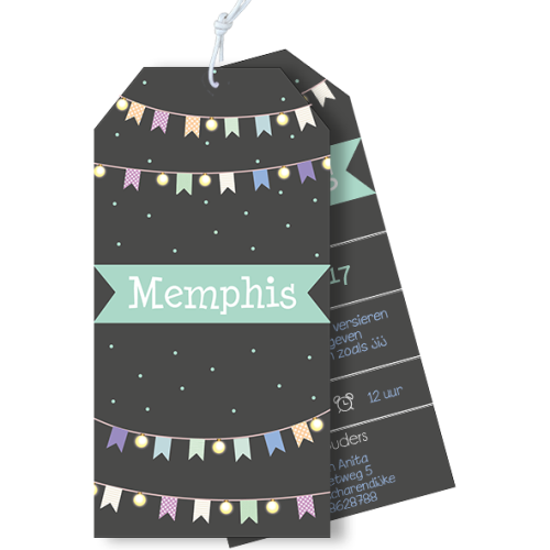 Geboortekaartje als label met vlaggetjes en lampjes