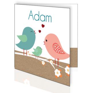 Geboortekaartje met vogeltjes op bloesem tak