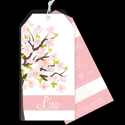 Geboortekaartje als label met bloesem boom roze