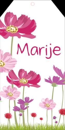 Geboortekaartje als label met bloemen Marije