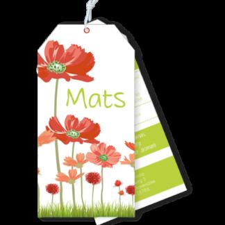 Geboortekaartje als label met zomerse bloemen