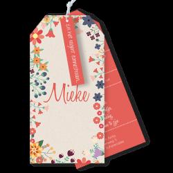 Geboortekaartje als label met retro bloemetjes Mieke