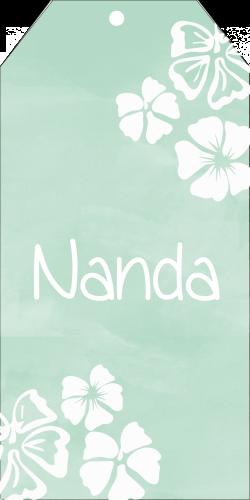 Geboortekaartje label Hawaii bloemen Nanda