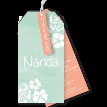 Geboortekaartje label Hawaii bloemen