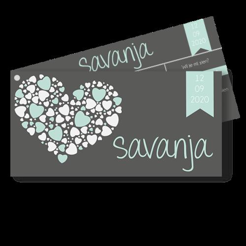 Geboortekaartje als liggend label met hartjes mint en wit
