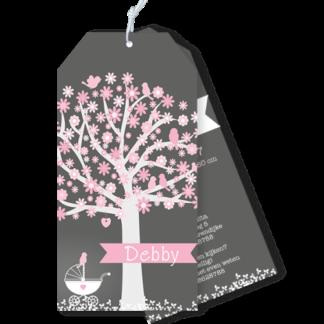 Geboortekaartje boom met vogeltjes en wiegje