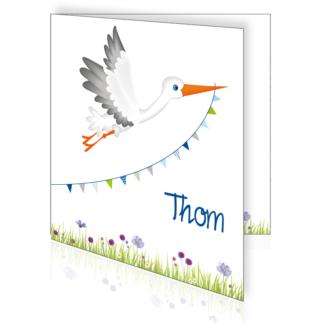 Geboortekaartje met ooievaar en bloemen zomer