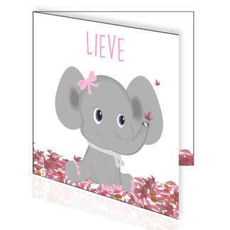 Lief baby olifantje op een bed van herfsblaadjes