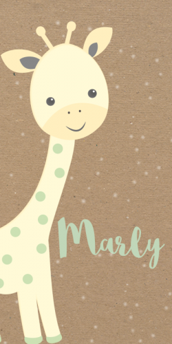 Langwerpig geboortekaartje met giraf