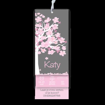 Geboortekaartje label tags bloesem boom stijl