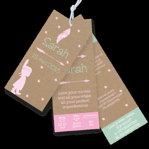 Geboortekaartje label tags bohemian stijl