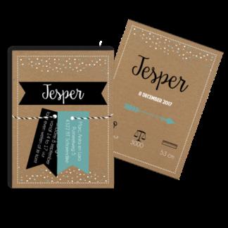 Geboortekaartje confetti met 2 losse labeltjes