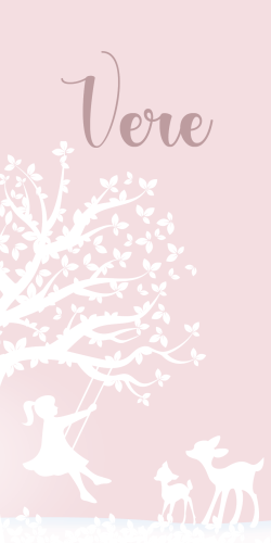 Geboortekaartje label meisje op schommel