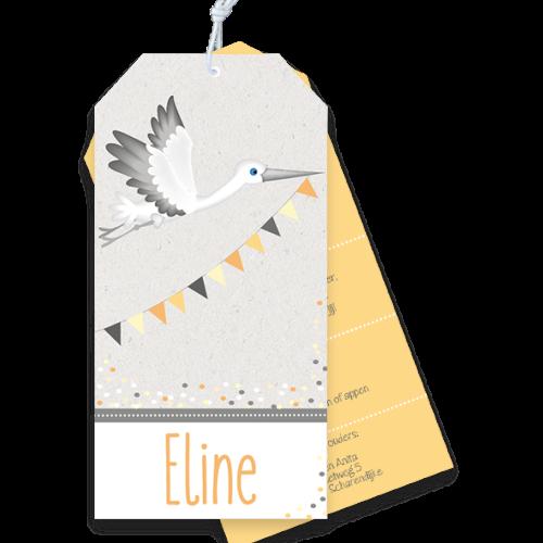 Label geboortekaartje met ooievaar in vlaggenlijn
