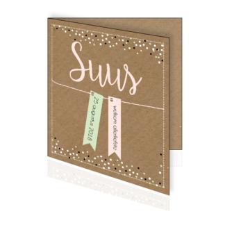 Geboortekaartje pastel confetti en labeltjes