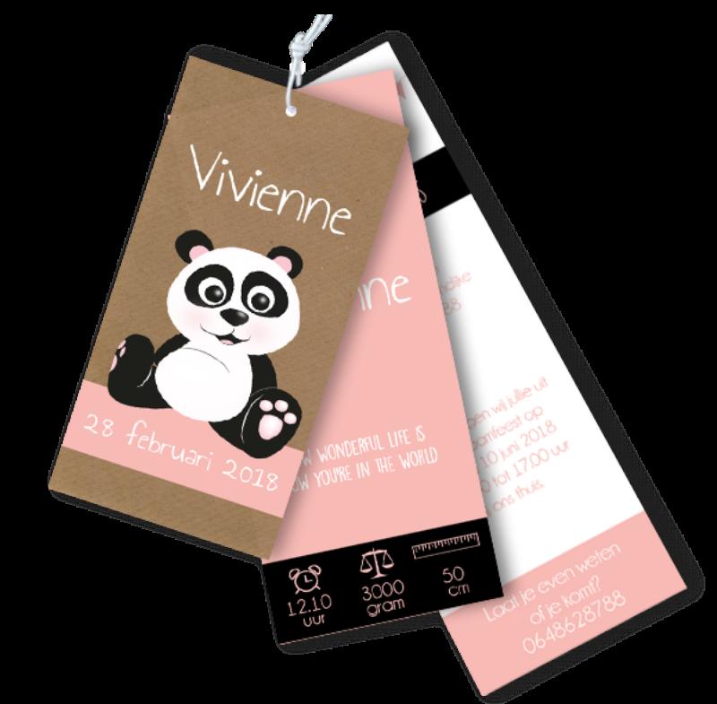 Geboortekaartje label met panda