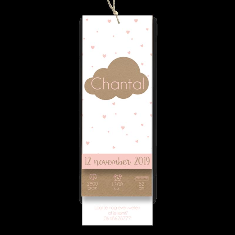 Geboortekaartje label met wolkje voor meisje