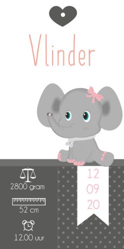 Geboortekaartje label olifantje