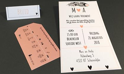 Trouwkaart met los label met tijdlijn wit zalm