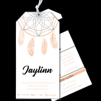 Geboortekaartje label droomvanger veertjes zalm
