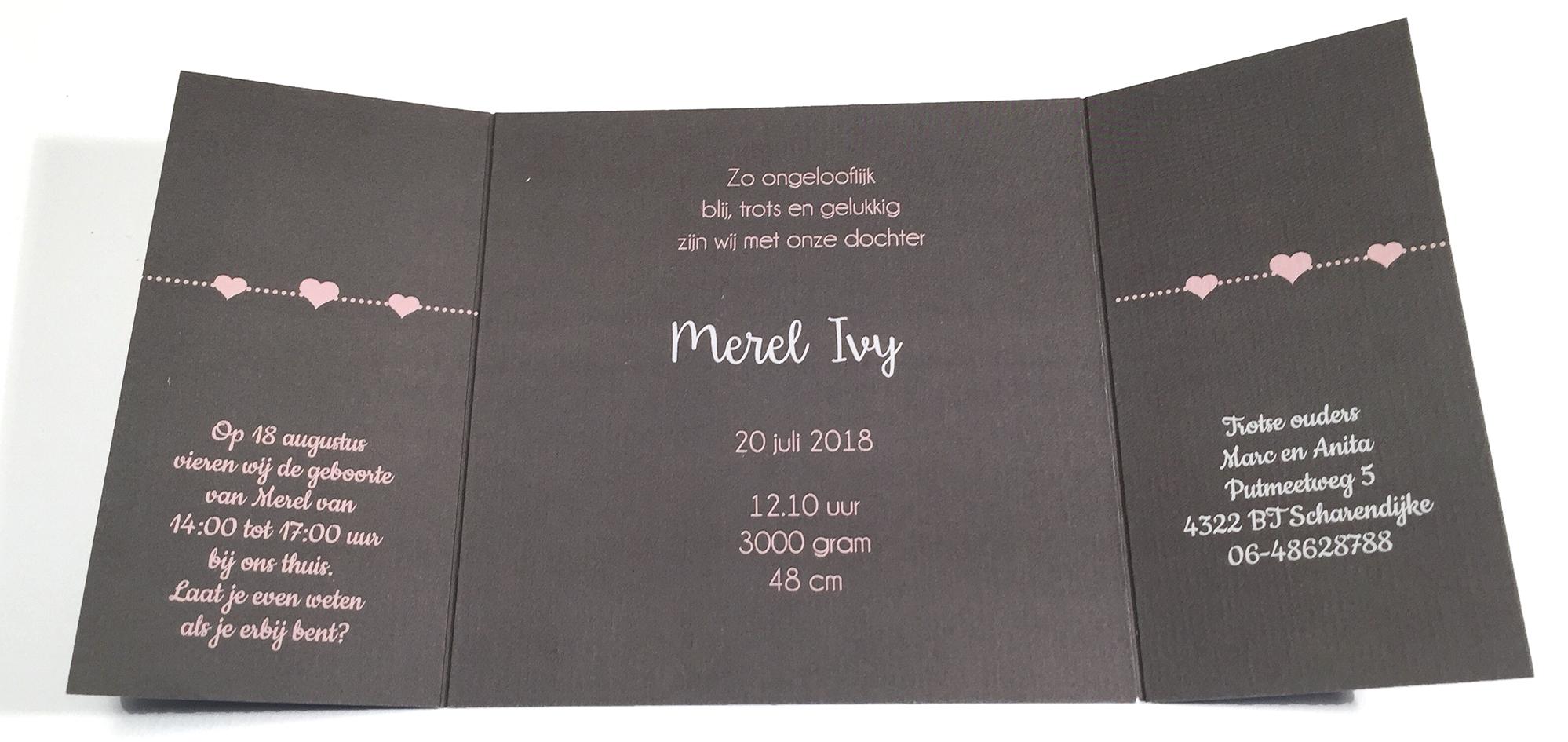 drieluik kaartje met los hartjes label