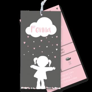 Geboortekaartje meisje silouet met wolkje en hartjes